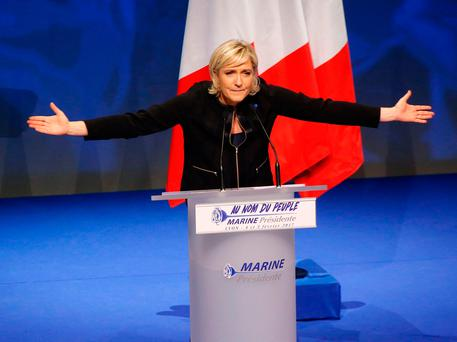 Far-right leader presidential candidate Marine Le Pen speaks to her faithful in Lyon (AP Photo/Michel Euler)