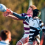 Jack Hilliard of Clongowes Wood College contests a lineout with Bill Burns of Cistercian College Roscrea Photo: Cody Glenn/Sportsfile