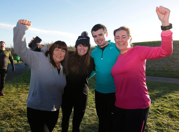 Irene Cooney, Sharon Woods, Killian Mullen and Linda Beatty at the Parkrun in Tymon Park, Tallaght. Picture: Damien Eagers