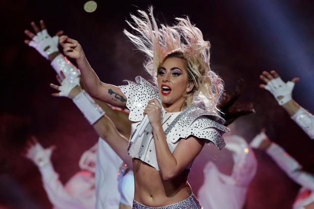 Singer Lady Gaga performs during the halftime show of the NFL Super Bowl 51 . (AP Photo/Matt Slocum)