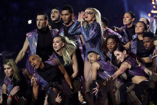 Singer Lady Gaga performs during the halftime show of the NFL Super Bowl 51 (AP Photo/Patrick Semansky)