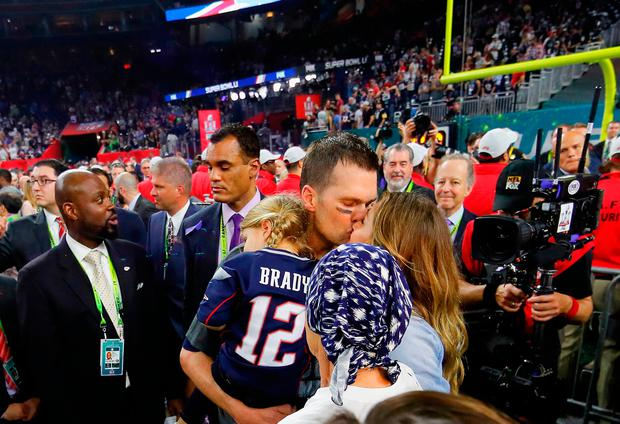 Tom Brady #12 of the New England Patriots celebrates with wife Gisele Bundchen, daughter Vivian Brady and mother Galynn Brady after defeating the Atlanta Falcons during Super Bowl 51 at NRG Stadium on February 5, 2017 in Houston, Texas. The Patriots defeated the Falcons 34-28. (Photo by Kevin C. Cox/Getty Images)