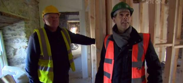 Enda and Dermot Bannon get to work. Pic: Room to Improve / RTE
