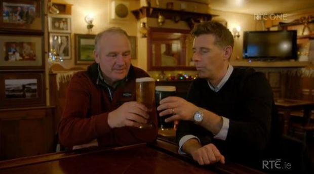 Enda and Dermot have their first pint. Pic: Room to Improve / RTE