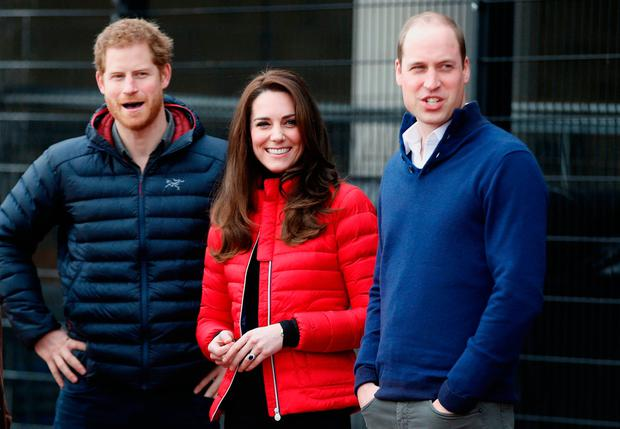The Duke and Duchess of Cambridge and Prince Harry ( left) wait to take part in a race at the Queen Elizabeth Olympic Park in east London, as they joined runners taking part in the London Marathon for their mental health campaign Heads Together.