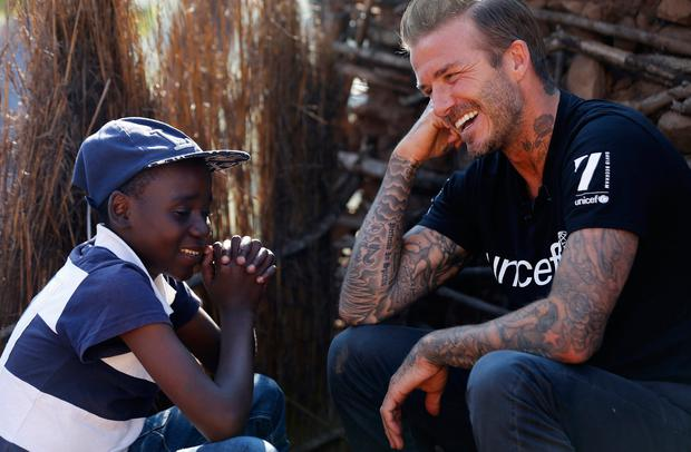 UNICEF Goodwill Ambassador David Beckham meets Sebenelle, 14, in Makhewu, Swaziland, on June 7, 2016, who receives the 7 Fund support in management of malnutrition in HIV positive children.