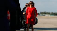 First Lady Melania Trump arrives to welcome U.S. President Donald Trump (not pictured) at West Palm Beach International airport in West Palm Beach, Florida, U.S., February 3, 2017. REUTERS/Carlos Barria