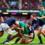 Simon Zebo of Ireland is tackled by Alex Dunbar, 2nd from left, and Tommy Seymour of Scotland