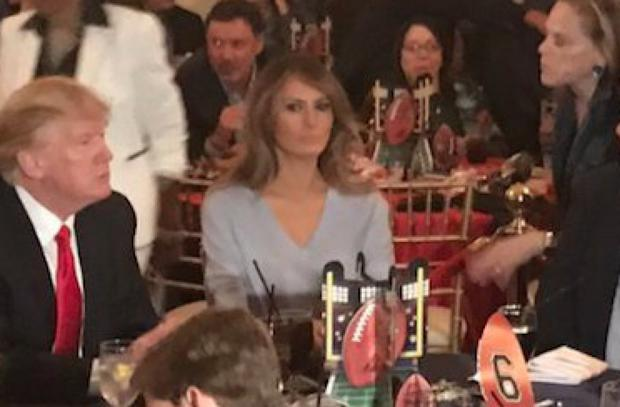 This photo of Melania Trump watching the Super Bowl has #FreeMelania trending again. Image: Twitter