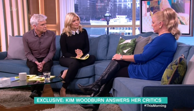 Kim Woodburn with This Morning hosts Phillip Schofield and Holly Willoughby. Pic: ITV