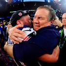 New England Patriots head coach Bill Belichick celebrates with Danny Amendola after the game. Photo: Mike Ehrmann/Getty Images
