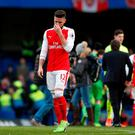 Arsenal's Olivier Giroud looks dejected at the end of the match