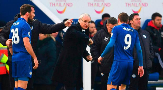 Claudio Ranieri issues instructions to Leicester striker Jamie Vardy during the defeat to Manchester United. Photo: Laurence Griffiths/Getty Images