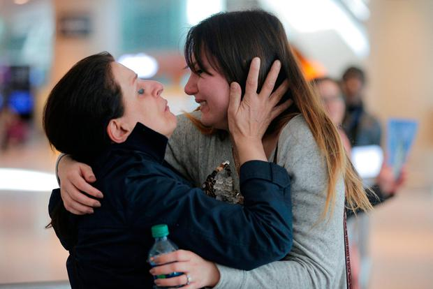 Shanez Tabarsi (left) is greeted by her daughter Negin in Boston, Massachusetts, after travelling to the US from Iran following the striking down of the travel ban. Photo: REUTERS/Brian Snyder