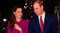 Britain's Prince William, Duke of Cambridge (R), and his wife, Catherine, Duchess of Cambridge arrive to attend a Guild of Health Writers conference in London on February 7, 2017, this year focusing on mental health, and supported by the Heads Together campaign.