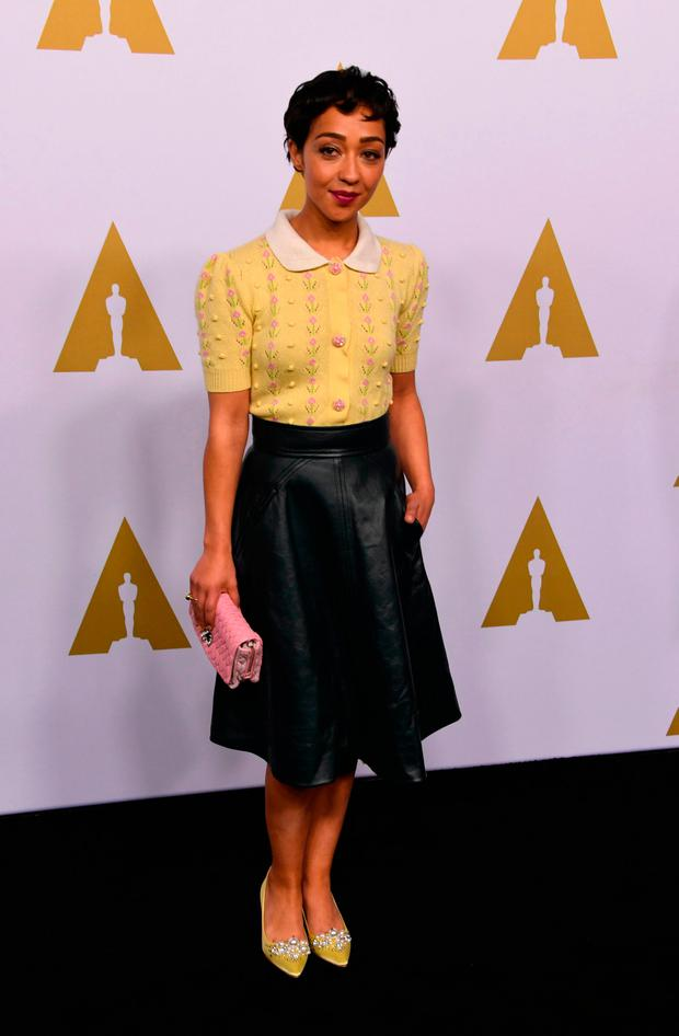 Actress Ruth Negga arrives for the 89th Annual Academy Awards Nominee Luncheon at The Beverly Hilton Hotel in Beverly Hills, California