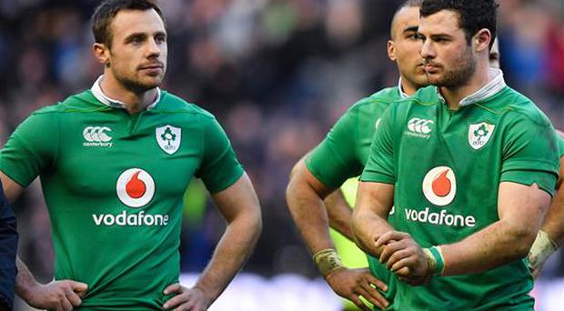 4 February 2017; Ireland players Tommy Bowe, left, and Robbie Henshaw after the RBS Six Nations Rugby Championship match between Scotland and Ireland at BT Murrayfield Stadium in Edinburgh, Scotland. Photo by Brendan Moran/Sportsfile