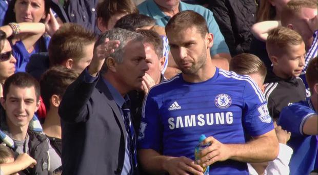 Branislav Ivanovic and Jose Mourinho during their time at Chelsea