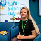 Jane Hayes-Nally (16) from Cork spoke at the launch of Safer Internet Day 2017. Photo: Andres Poveda