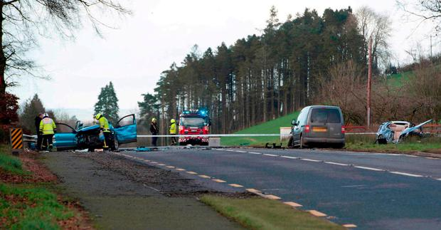 Garda and members of the emergency services at the scene of the fatal crash on the N2 in Co Monaghan.