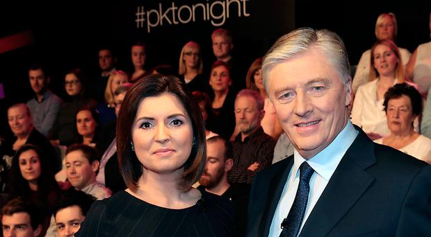 Pat Kenny and Colette Fitzpatrick on the set of Pat Kenny Tonight. Photo: Brian McEvoy