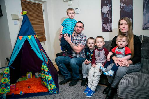 Jerry McEvoy with his partner Jade Merrigan and their four sons, from left, Josh (2), Lennon (4), Callum (7) and Mason (1) at their home in Clonee. Photo: Kyran O'Brien