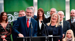 Sinn Féin president Gerry Adams (left) and Northern leader Michelle O'Neill (right) talk to the press in Belfast. Photo: Charles McQuillan/Getty