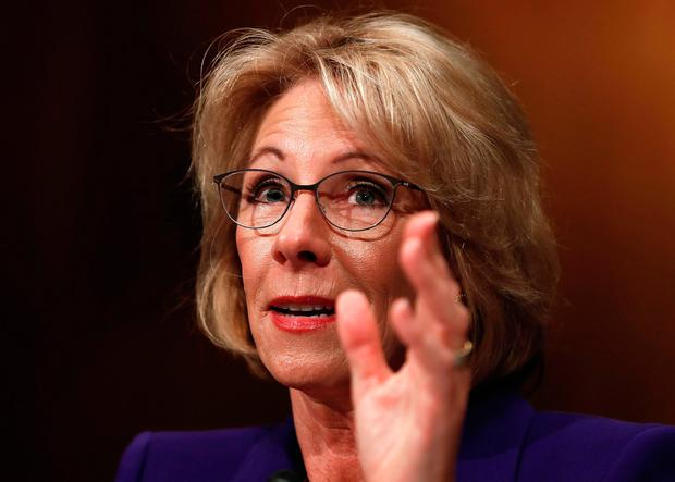 In this Jan. 17, 2017 file photo, Education Secretary-designate Betsy DeVos testifies on Capitol Hill in Washington at her confirmation hearing before the Senate Health, Education, Labor and Pensions Committee.(AP Photo/Carolyn Kaster, File)
