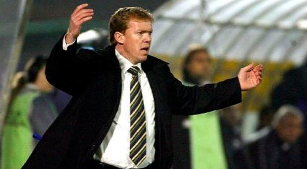 An emotional Steve Staunton watches from his technical area as a nightmare unfolds in San Marino. Photo: PA