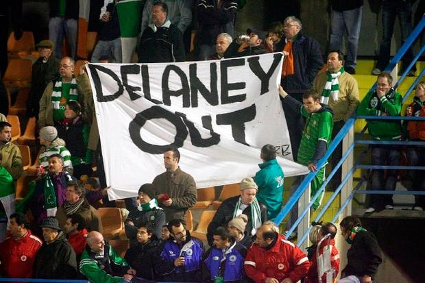 A group of Irish supporters make their feelings known. Photo: PA