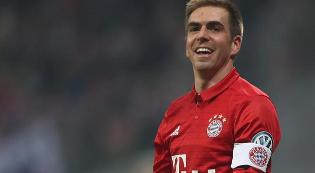 MUNICH, GERMANY - FEBRUARY 07: Philipp Lahm of Muenchen reacts during the DFB Cup Round Of 16 match between Bayern Muenchen and VfL Wolfsburg at Allianz Arena on February 7, 2017 in Munich, Germany. (Photo by Alex Grimm/Bongarts/Getty Images)