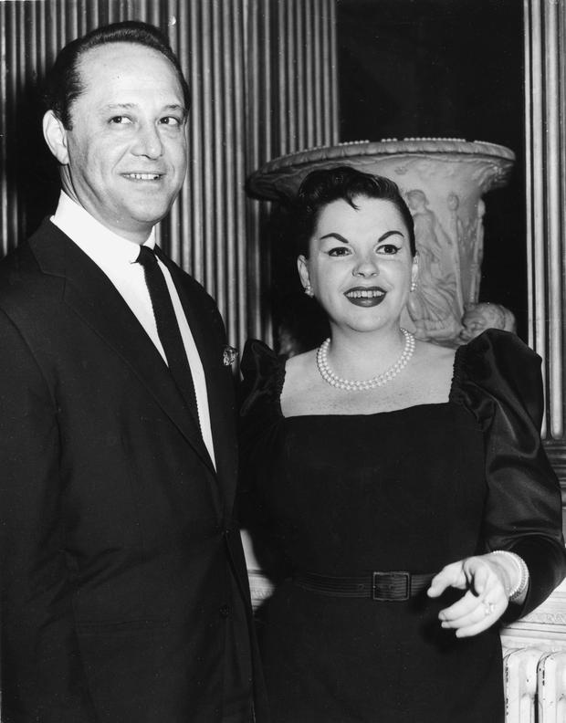 American singer and actress Judy Garland with her husband Sidney Luft at a reception in her honour at Londonderry House. (Photo by Edward Miller/Keystone/Getty Images)