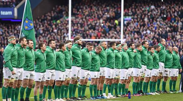 4 February 2017; The Ireland team line up for the national anthem prior to the RBS Six Nations Rugby Championship match between Scotland and Ireland at BT Murrayfield Stadium in Edinburgh, Scotland. Photo by Brendan Moran/Sportsfile