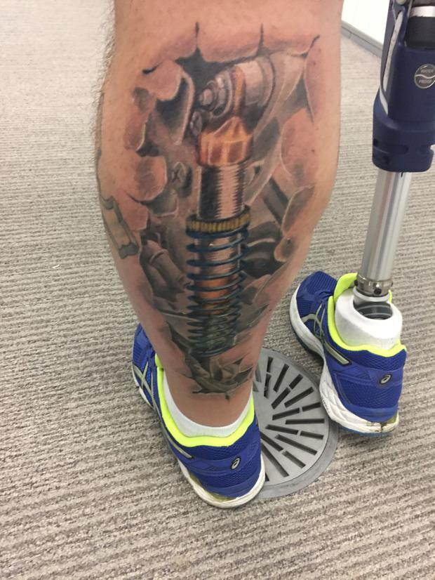 Chris McElligot shows off his new tattoo. Pic: RTE / Operation Transformation
