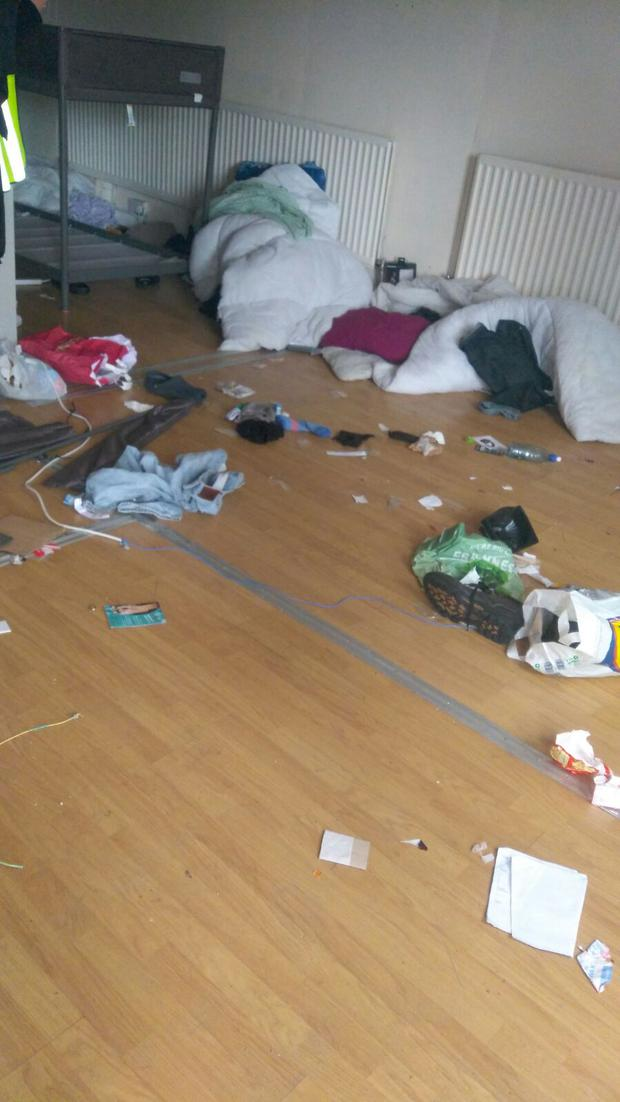 The mattresses were removed and remaining tenants were forced to sleep on the floor