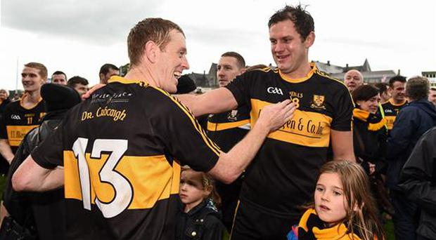 16 October 2016; Members of the Dr. Crokes team Colm Cooper, left, and Eoin Brosnan celebrate after the Kerry County Senior Club Football Championship Final game between Dr. Crokes and Kenmare District at Fitzgerald Stadium in Killarney, Co. Kerry. Photo by Brendan Moran/Sportsfile