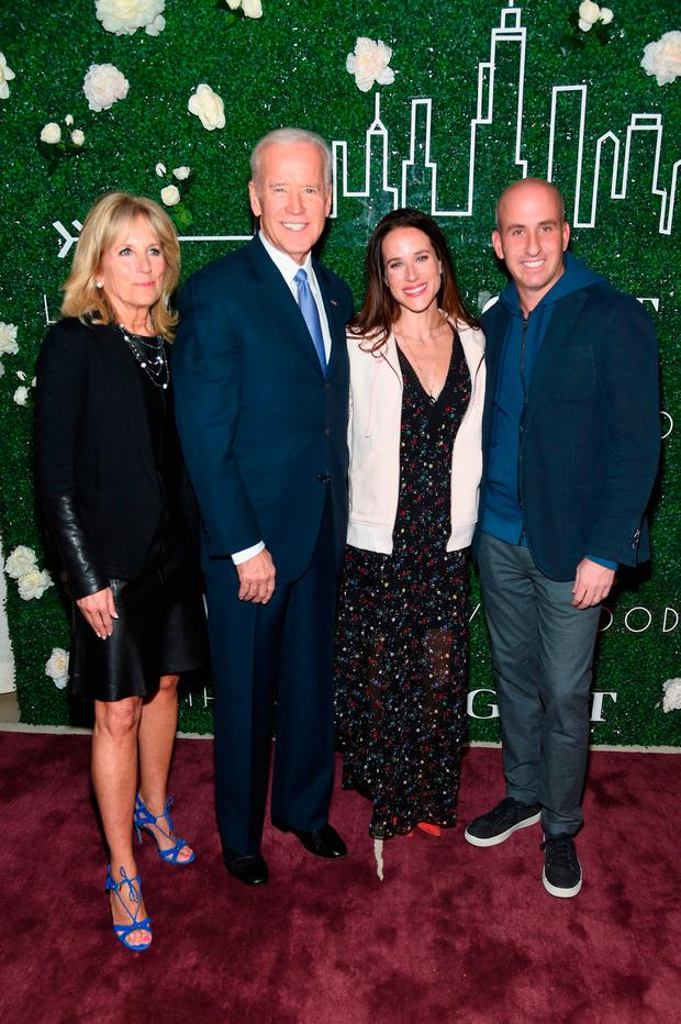 Dr. Jill Biden, Vice President Joe Biden, Livelihood founder Ashley Biden, and Gilt & Saks OFF 5TH President Jonathan Greller attend the GILT and Ashley Biden celebration of the launch of exclusive Livelihood Collection at Spring Place on February 7, 2017 in New York City. (Photo by Jamie McCarthy/Getty Images for GILT)