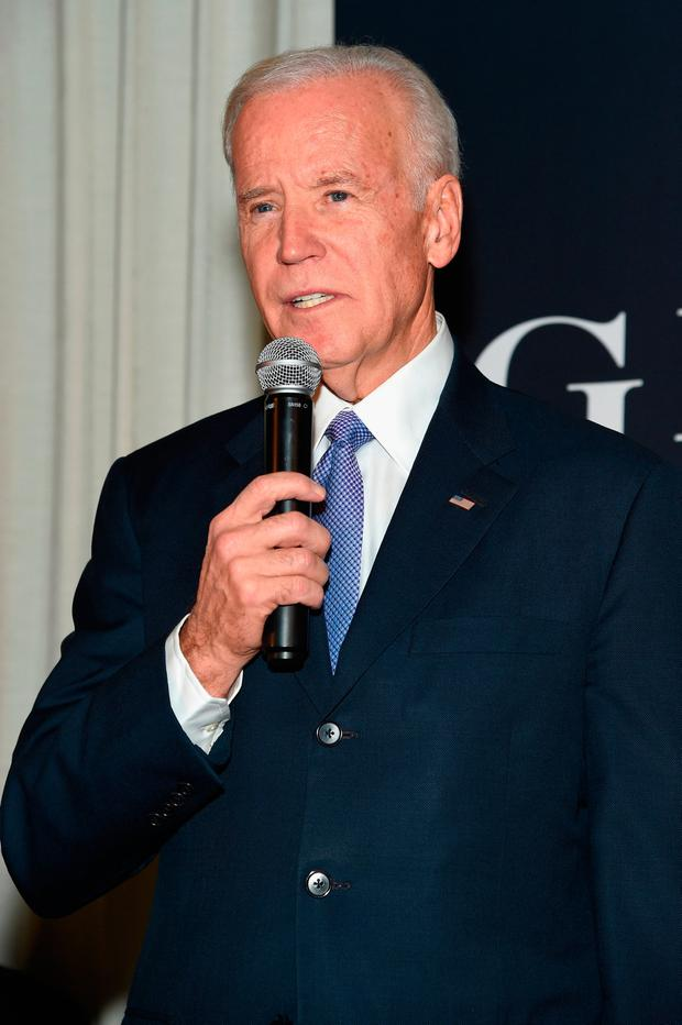 Vice President Joe Biden speaks onstage at the GILT and Ashley Biden celebration of the launch of exclusive Livelihood Collection at Spring Place on February 7, 2017 in New York City. (Photo by Jamie McCarthy/Getty Images for GILT)