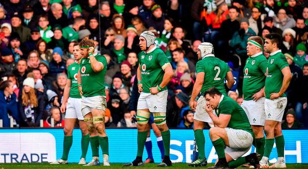 The Ireland team look on after conceding a late penalty during the RBS Six Nations Rugby Championship match between Scotland and Ireland at BT Murrayfield Stadium in Edinburgh, Scotland. Photo by Brendan Moran/Sportsfile