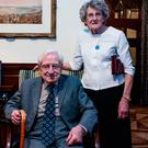 David O'Morchoe, president of the British Legion, and his wife Margaret at an event to recognise those involved in the 1916 commemorations, at the British Ambassador's residence in Dublin Photo: Arthur Carron