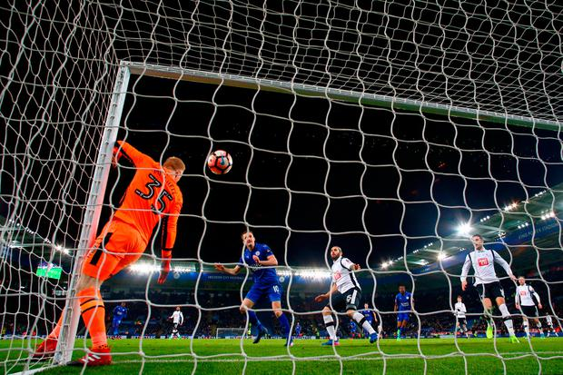 Andy King puts Leicester ahead. Photo: Matthew Lewis/Getty Images