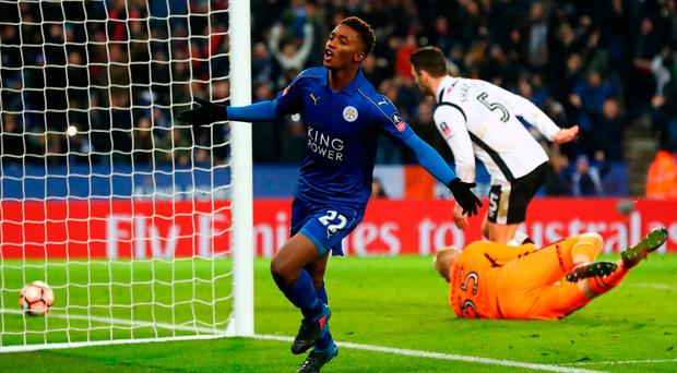 Demarai Gray celebrates securing the extra-time win for Leicester City. Photo: Matthew Lewis/Getty Images