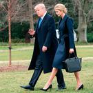 US President Donald Trump and his daughter Ivanka walking to board Marine One at the White House in Washington. Photo: GETTY