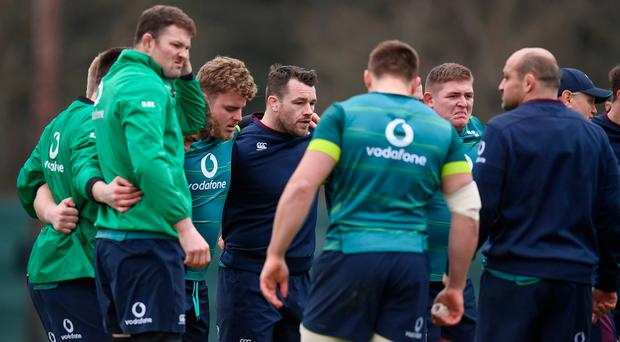 Cian Healy and his Ireland team-mates during squad training at Carton House in Maynooth, Co. Kildare. Photo by Stephen McCarthy/Sportsfile