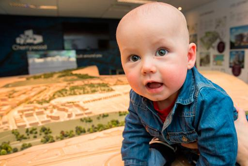 Little Leo O'Brien (8 months), from Clondalkin, attended the launch of the new housing development yesterday Picture: Keith Arkins