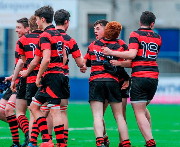 Kilkenny College players celebrate at the final whistle. Photo: Joe Sweeney/Sportsfile