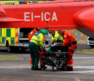 The man, who fell into the water from a pier near Terryglass in Co Tipperary, was airlifted to UHL Photograph Press 22