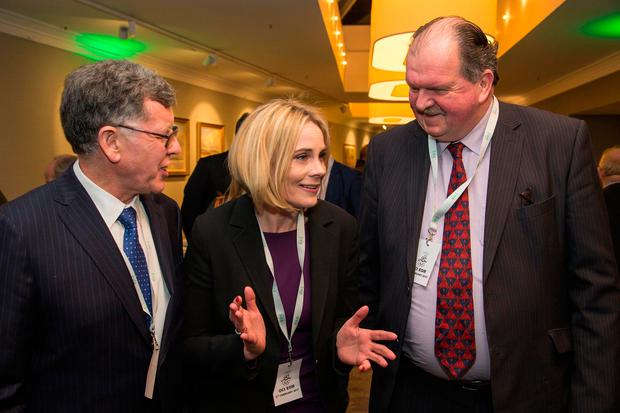 New OCI president Sarah Keane with rival candidates, Willie O'Brien (left) and Bernard O'Byrne at the council elections at The Conrad Hotel in Dublin last night. Photo: Colin O'Riordan