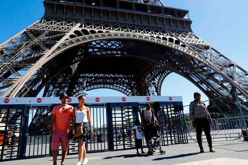 Security barriers under the Eiffel Tower. Photo: Getty Images