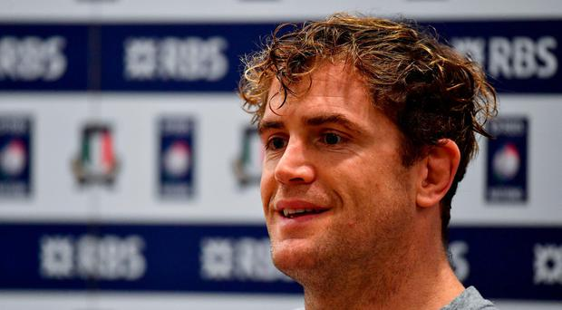 Ireland vice-captain Jamie Heaslip during a press conference at the Stadio Olimpico in Rome, Italy. Photo by Ramsey Cardy/Sportsfile